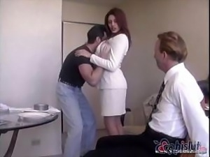 Raylene's handsome hubby gets tied up and made to watch his wife get nailed