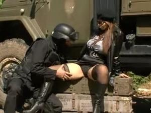 Big tits secretservicegirl + soldier