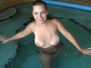 GF with big luscious tits giving head on cam
