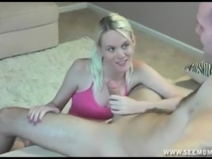 Sallys stepmom teaches her daughters how to suck a big thick dick