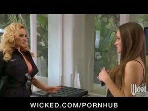 Slutty big-tit blonde cop licks & fucks horny brunette's wet pussy