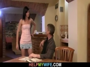 Old man watches his wife fucked free