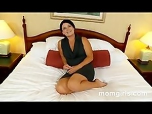 Brunette milf does her first adult video
