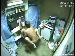 Hidden cam captures this amateur couple fucking in back room