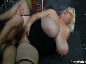 Huge titted blonde strips and gets fucked