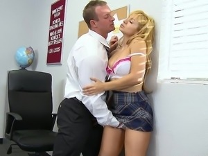 Blonde schoolgirl giving head