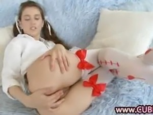 sexy cheerleader testing anal fingering