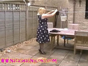 Slut Housewife In Blue Pantyhose Teases The Neighbours