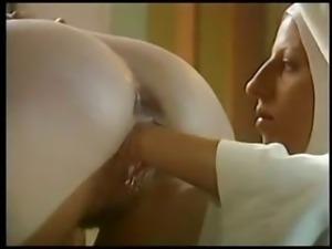 Lesbian nun fists her sister costume