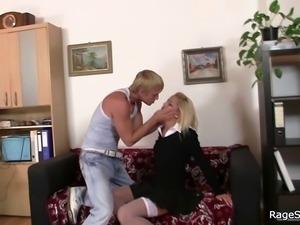 Blonde slut gets her lustful cunt attacked hard