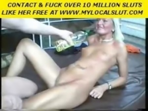Oiled up blonde takes a hard dong up her ass free