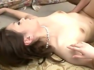 Two horny guys tackle Rui Yazawa purple satin clad body