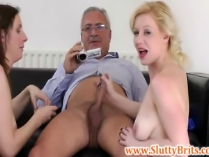 A pair of young brit babes being pussydrilled by old sir