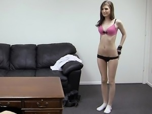 Cute Kaydence in backroom casting