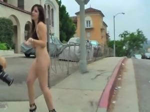 Public Flash bottomless bikini