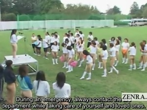 Subtitled bottomless outdoor Japan schoolgirls assembly
