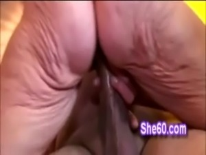 Wrinkled ass granny with hot big tits rides huge hard dong free