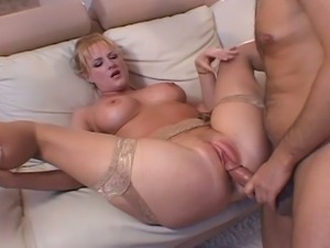 Milf gets hard fucked on couch.