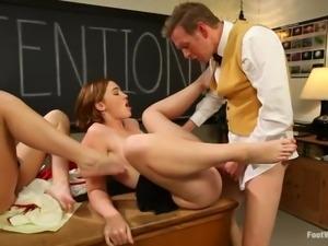 schoolgirls tease teacher with feet