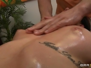 horny slut gets her body oiled