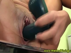 Piss fetish beauty drenched in urine while masturbating