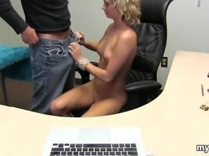 blondie gf riding cock in office room