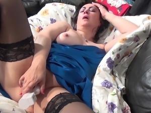 virginia is masturbating with a big dildo