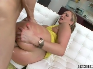 blonde slut being filled with cum