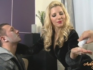 cute blonde dominating a guy