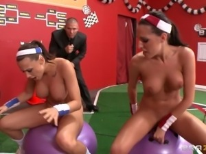 two nude girl having sports licking!