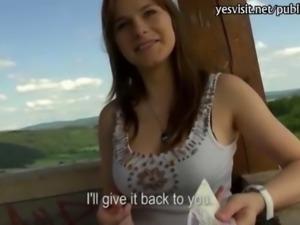 Pretty amateur Czech girl Charlotte Madison public sex for money