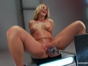 blonde mature solo with her fucking machine and vibrator