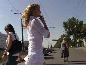 Upskirt Blonde White Thong