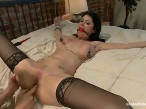 brunette milf with delicious boobs tied on bed and fucked