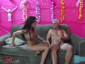 cute brunette with big boobs sucking dick and being fucked