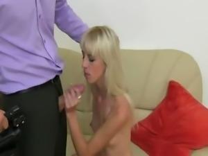 gaunt blondie fucking on fake casting