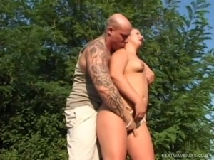 cleaning lady cleans master's cock instead of the garden