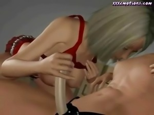 Animated lesbos play with strapon