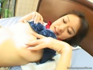 Sensual Handjobs From This Busty Japanese Cutie