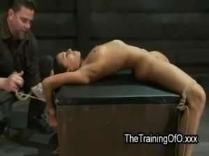 Brunette tied up and spread wide on box free