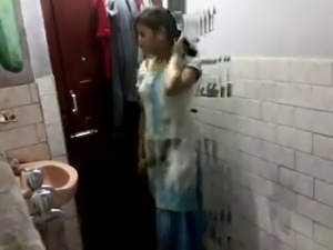 Indian girl in bathroom