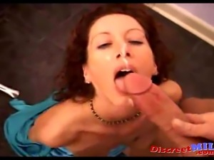 Mature house wife suck big dick and fucked hard until she gets cum on her face