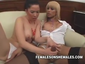 Nasty Shemale Boss Sheina Fucking Her Horny Secretary