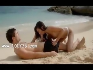 Extremely sleek lovers sex on the beach