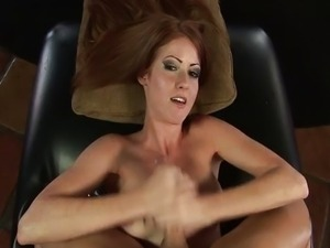 Sexy young redhead gives great handjob
