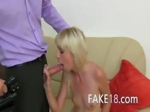Skinny blondie sexing on fake casting