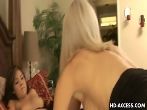 Wild lesbian babes eating each other's pussies! free