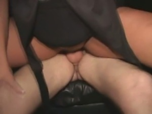 Blonde at theater gangbang