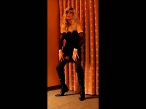 Cortney - Gorgeous blonde tranny in black tugs on she cock