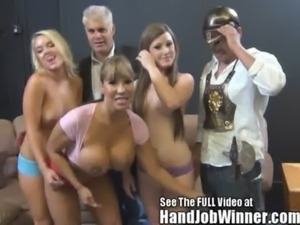 Huge fake titty Ava Devine makes a fan give her a cumshot from a handjob free